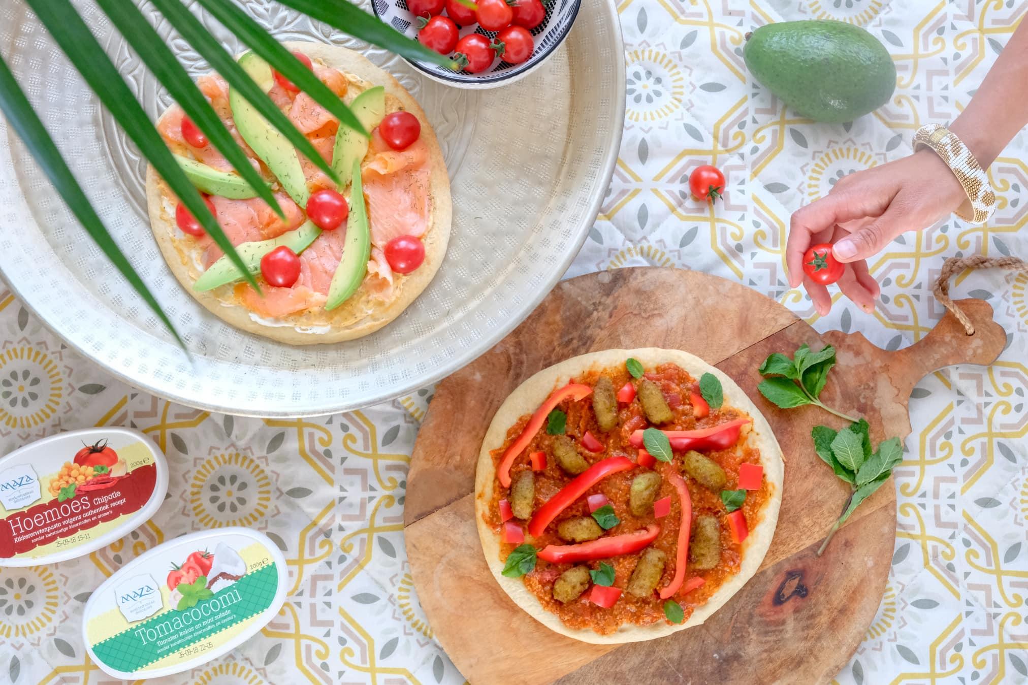 magioni pizza bodem bedekken met vis