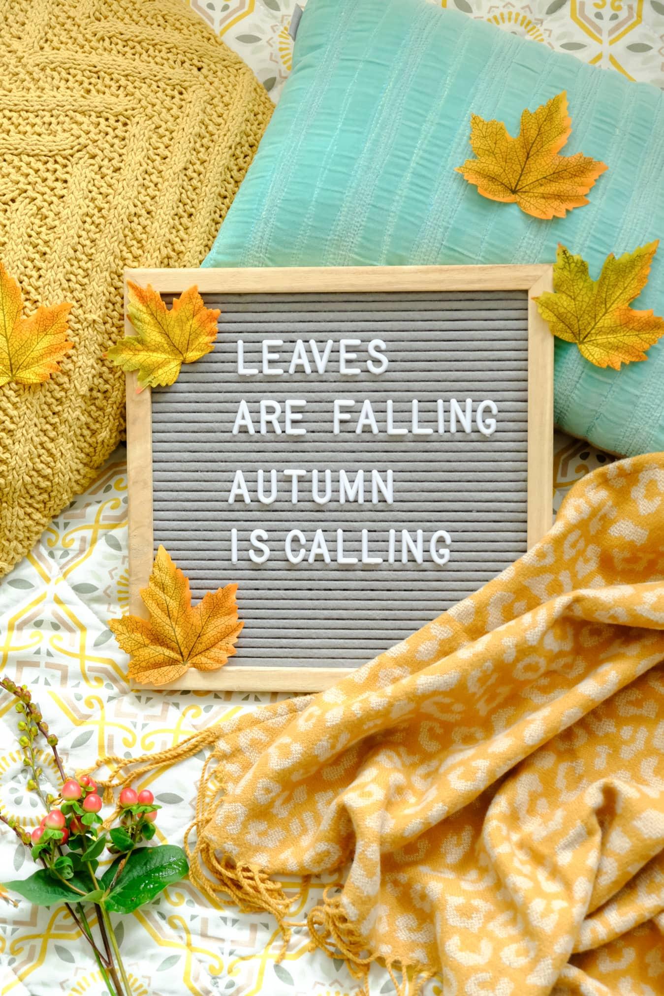 letterbord teksten herfst