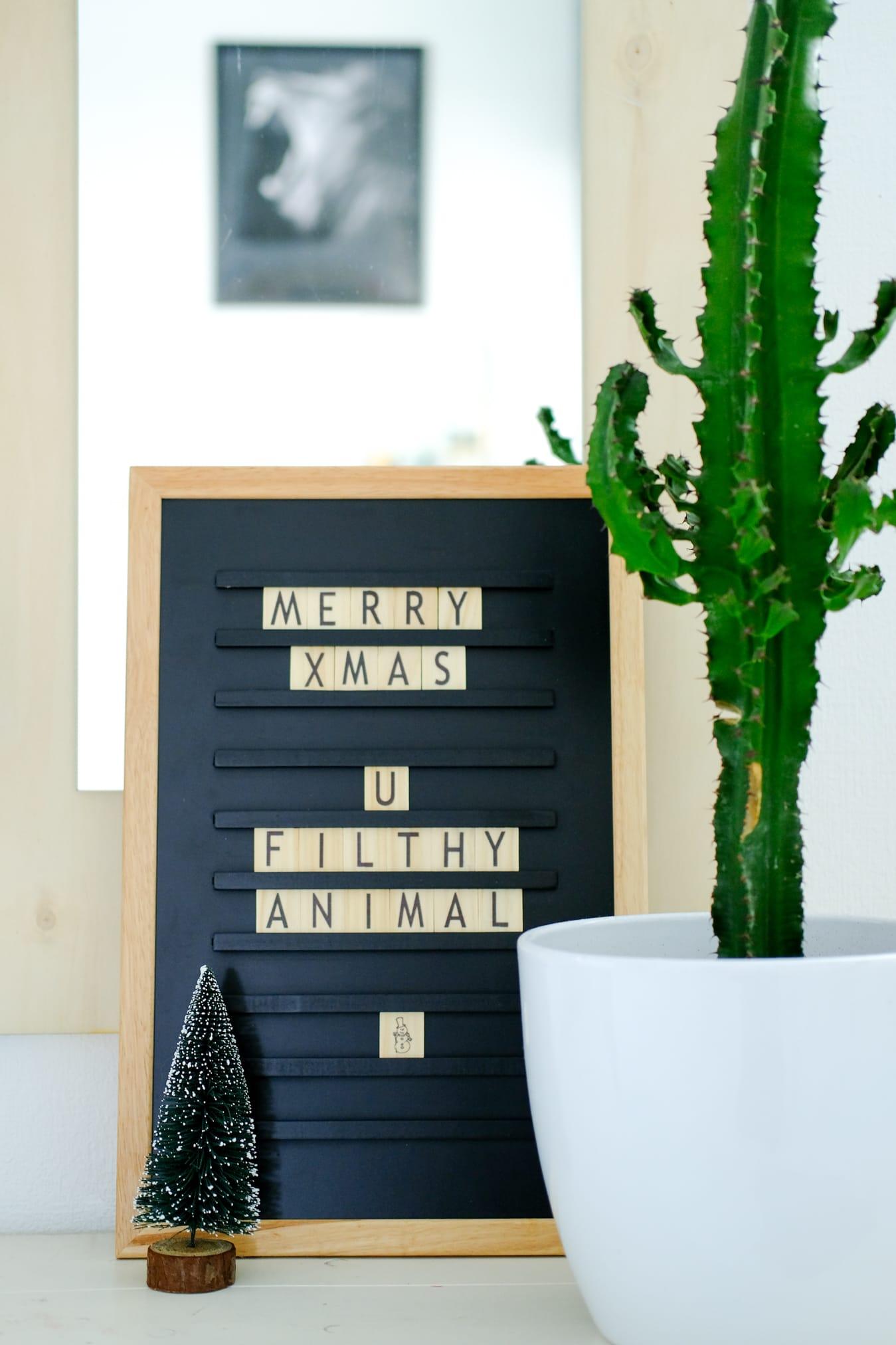 letterbord tekst tienerkamer kerst