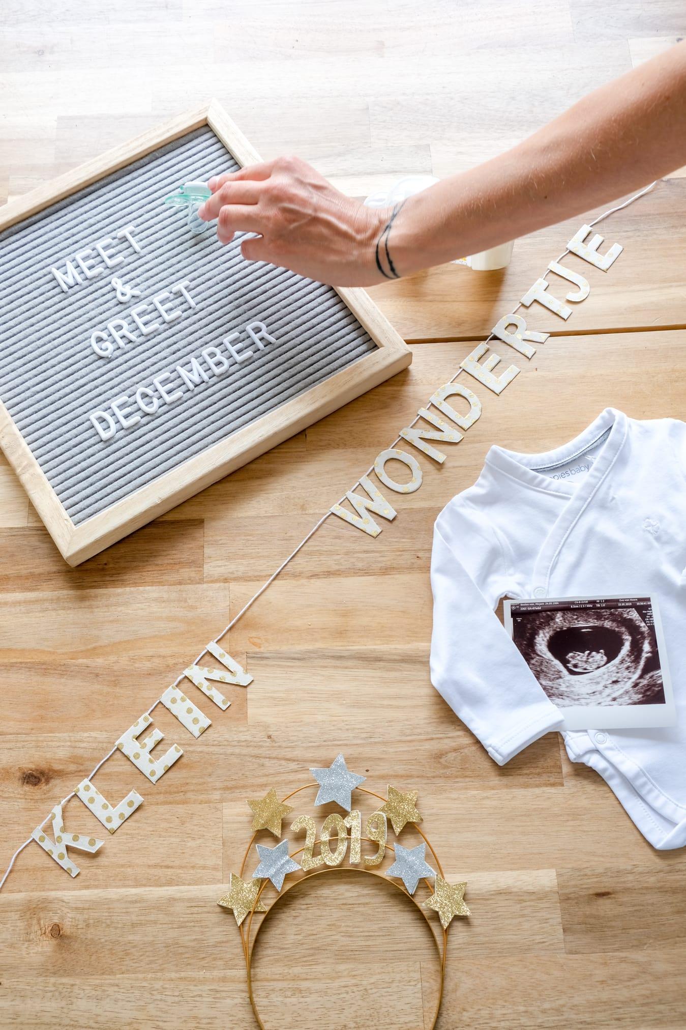 zwangerschap aankondiging letterbord