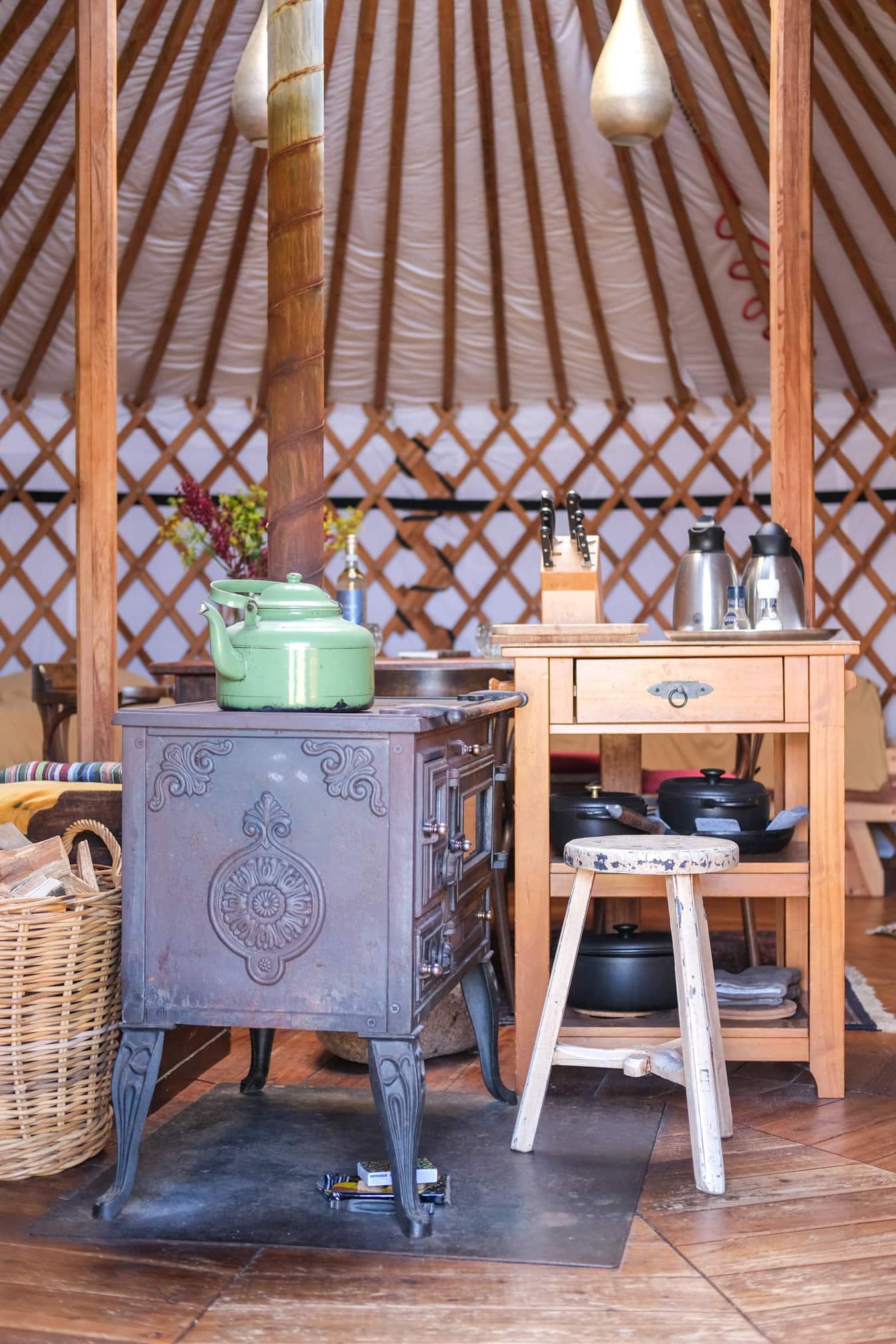 koken in een nomadentent