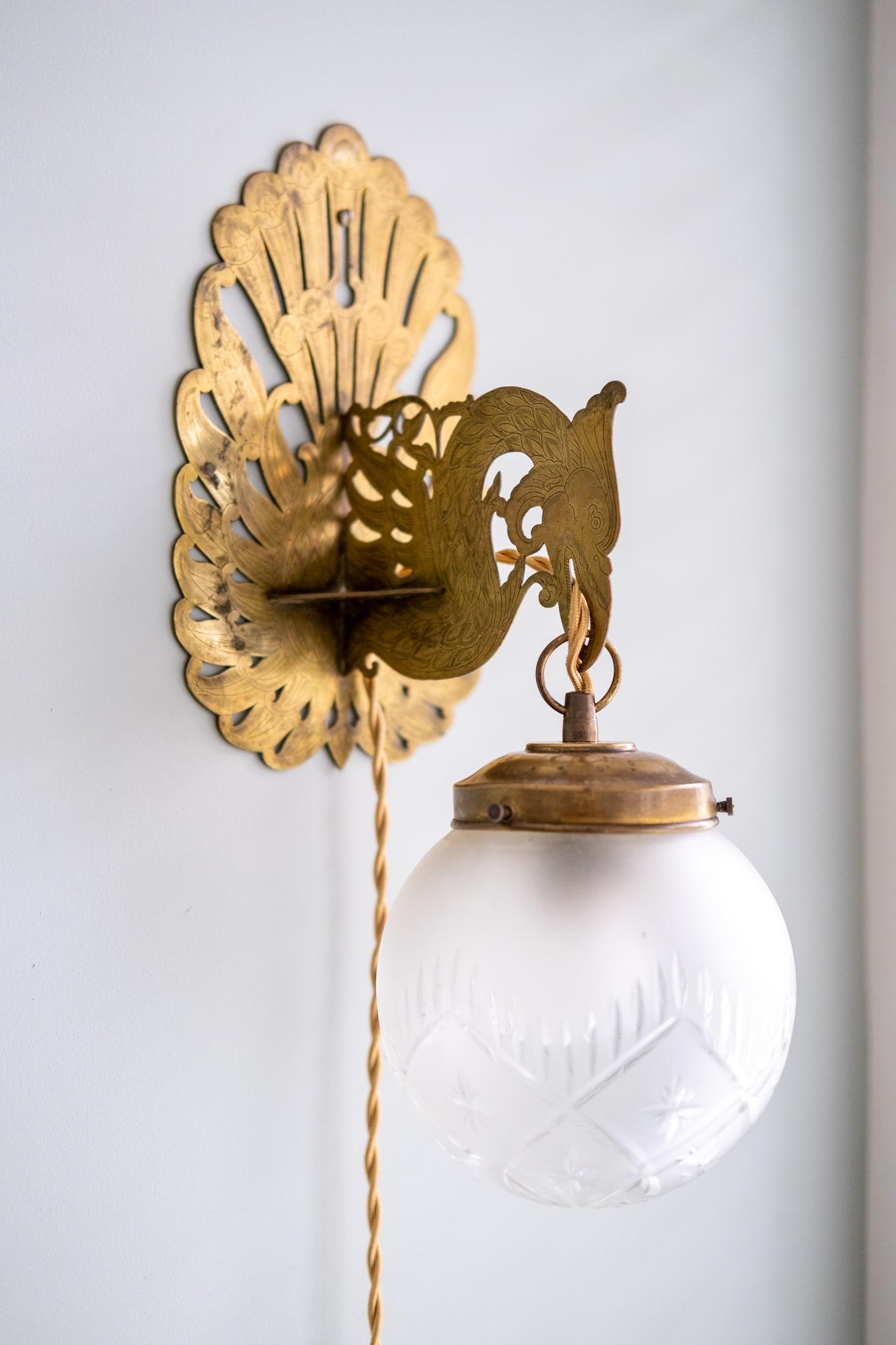 vintage wandlamp goud
