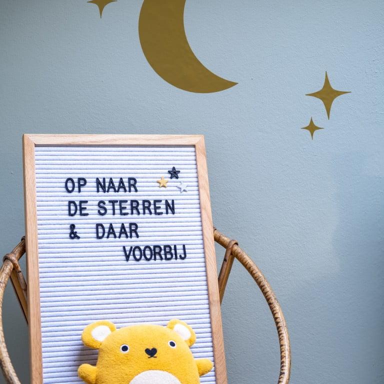 teksten ruimte thema kinderkamer letterbord